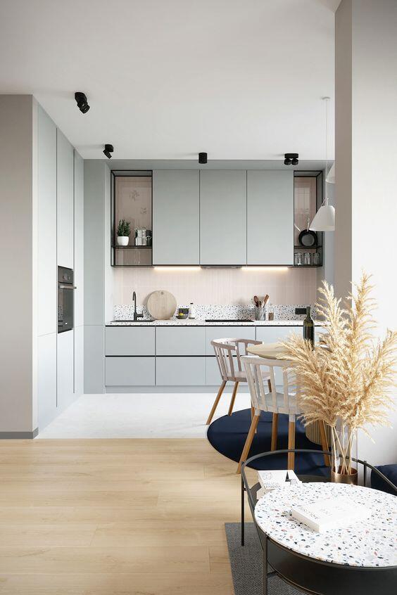 Interior cocina color gris